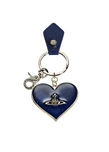 Vivienne Westwood Accessories Mirror Heart Keyring - Blue