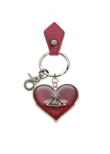 Vivienne Westwood Accessories Mirror Heart Keyring - Red