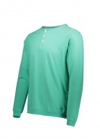Saturdays NYC Mitch Pima Henley LS Tee - Seafoam