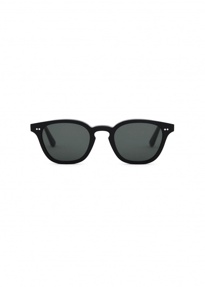 River Sunglasses - Black With Solid Green Lenses