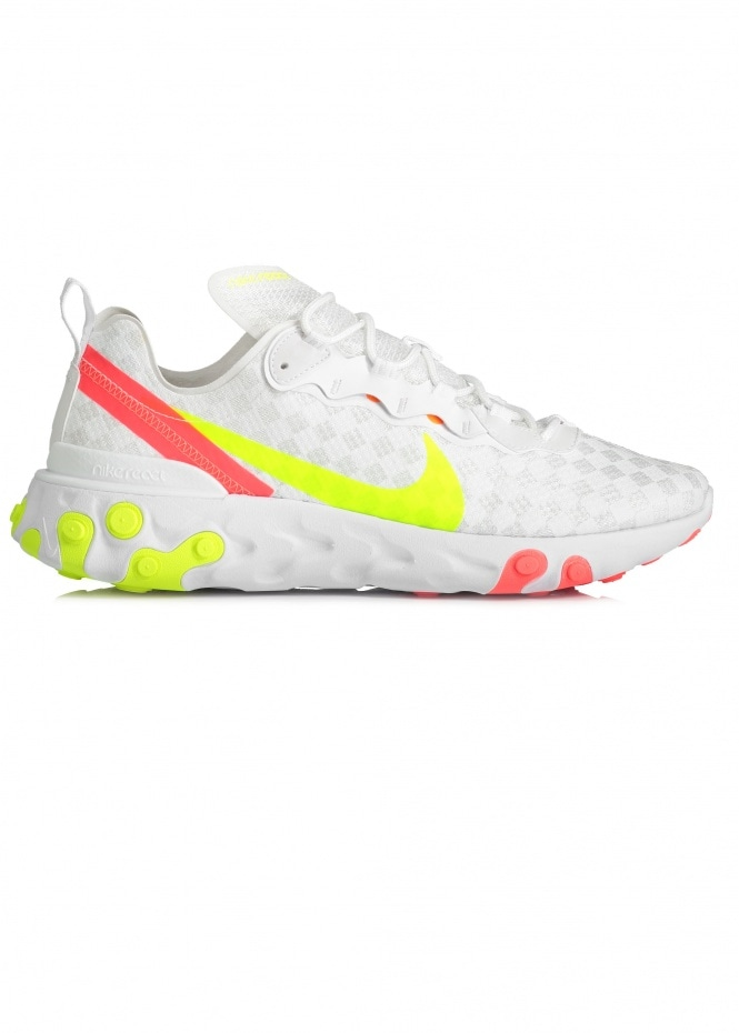 React Element 55 Trainers - White/Volt
