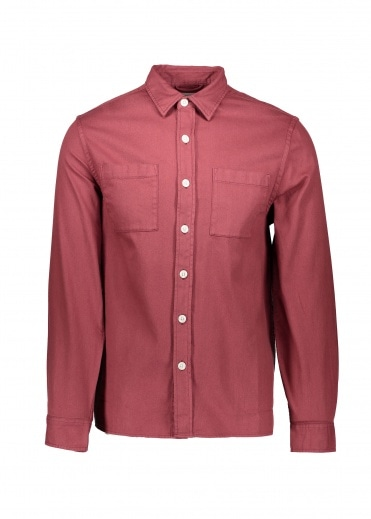 Saturdays NYC Nolan Washed Denim Shirt - Light Plum