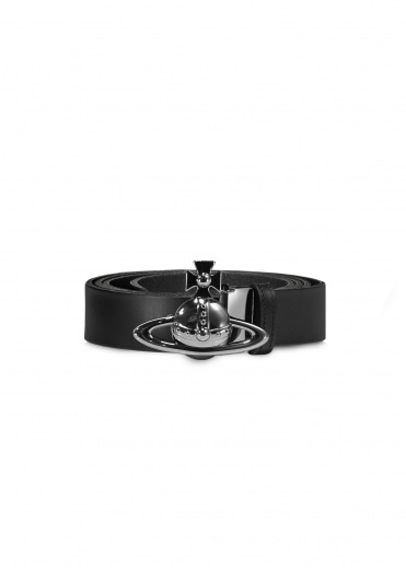Vivienne Westwood Accessories Orb Buckle Gun Metal Belt - Black