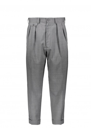 Beams Plus 2 Pleats Trousers Wool Tropical - Grey