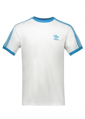 adidas Originals Apparel 3 Stripe Tee - White / Blue