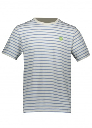 Wood Wood Ace Stripe Tee - Off White / Blue