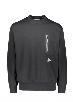 And Wander  Aeroknot Pile Crew Neck - Black