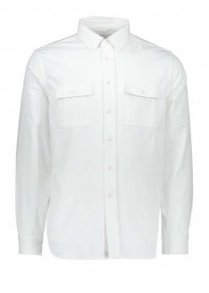 Angus Broken Twill LS Shirt - White