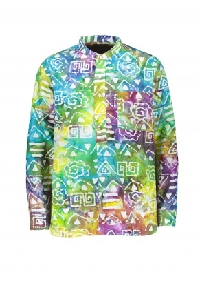 Beams Plus Band Collar Batik Print Shirt - Multi