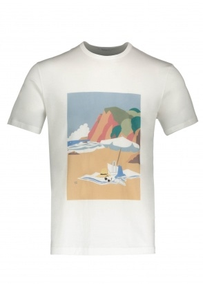 Sunspel Beach Scene T-Shirt - White