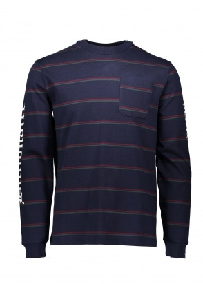 Billionaire Boys Club Striped LS Pocket Tee - Navy