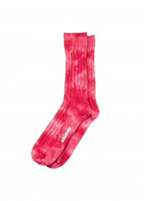 Stussy Dyed Ribbed Crew Socks - Red