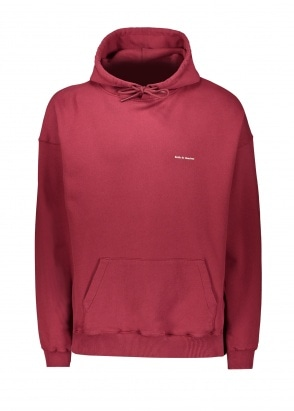 Drôle de Monsieur Flower Slogan Hoodie - Burgundy
