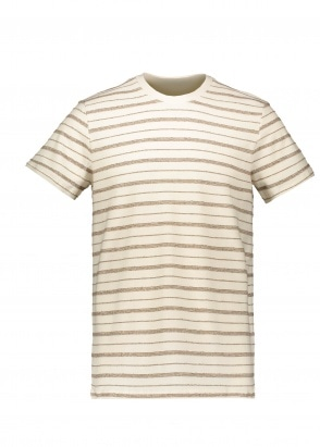 Folk SS Textured Stripe Tee - Ecru