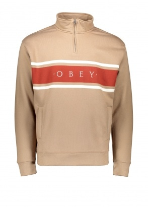 Obey Gaze Mock Neck Zip - Taupe