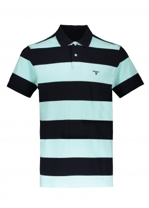 Barbour Harren Stripe Polo Shirt - Aqua Marine