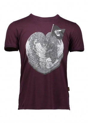 Vivienne Westwood Mens Heart World Print Tee - Bordeaux