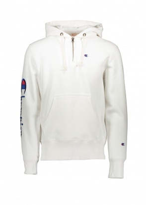 Champion Hooded Half Zip Sweatshirt - White