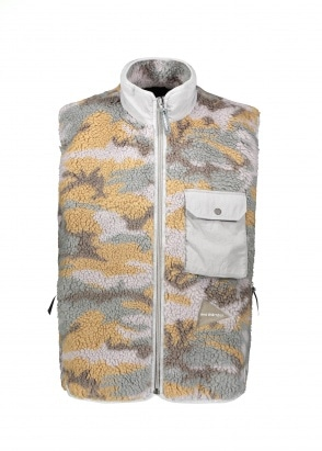 And Wander  Jacquard Boa Vest - Grey