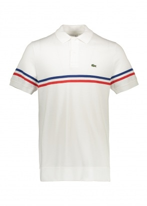 Lacoste Knit Stripe Polo - White / Salvia