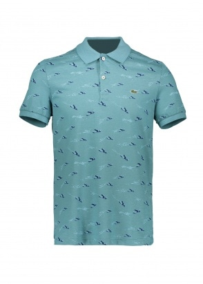 Lacoste Airplane Print Polo - Tide Blue
