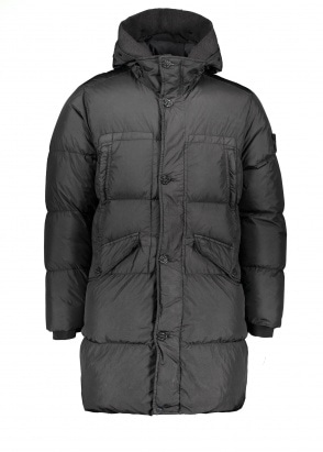 Stone Island Long Real Down Jacket - Black