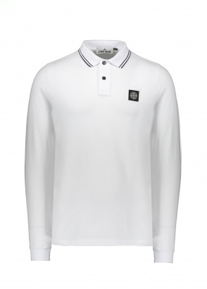 Stone Island LS Badge Polo - White
