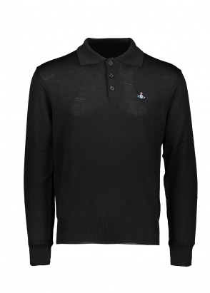 Vivienne Westwood Mens LS Knit Polo 900 - Black