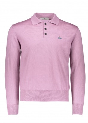Vivienne Westwood Mens LS Knit Polo - Pink