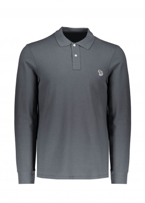Paul Smith LS Polo Shirt - Black Melange