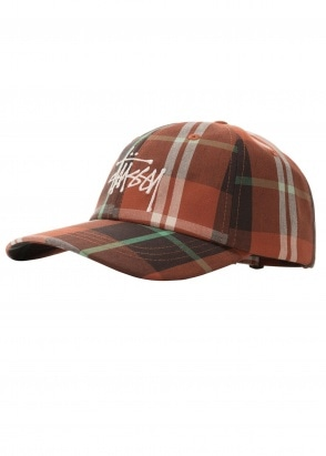 Stussy Madras Plaid Lo Pro Cap - Orange