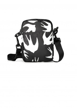 McQ Swallow Swallow Cross Body Bag - Black / White