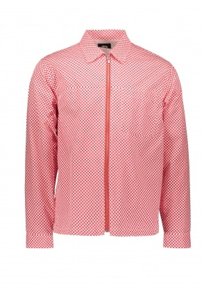 Stussy Mini Check Full Zip Shirt - Red