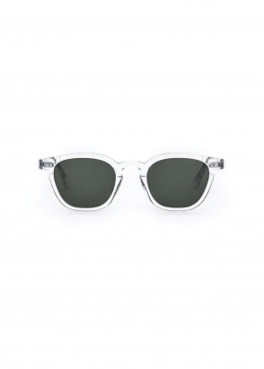 Monokel Eyewear River Sunglasses - Crystal With Solid Green Lenses