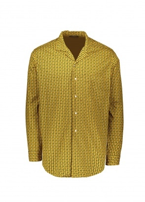 Beams Plus Open Collar Dobby Shirt - Mustard