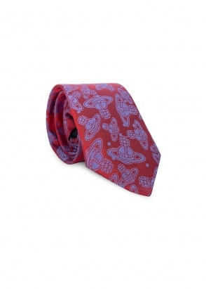 Vivienne Westwood Accessories Orb Logo Tie - Red / Blue