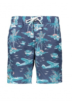 Lacoste Palm Print Shorts - Navy Blue