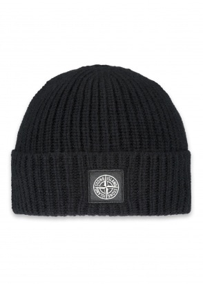 Stone Island Patch Logo Beanie - Black