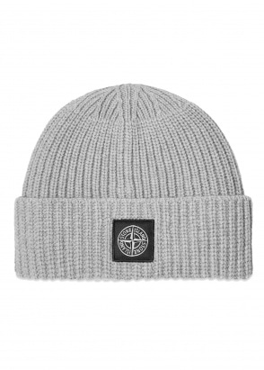 Stone Island Patch Logo Beanie - Grey