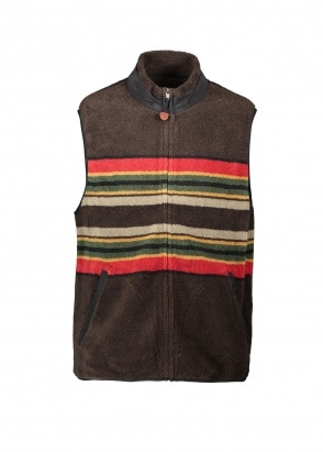 Pendleton Camp Stripe Fleece Vest - Brown