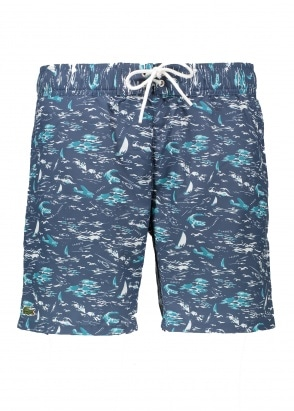 Lacoste Print Shorts - Navy Blue
