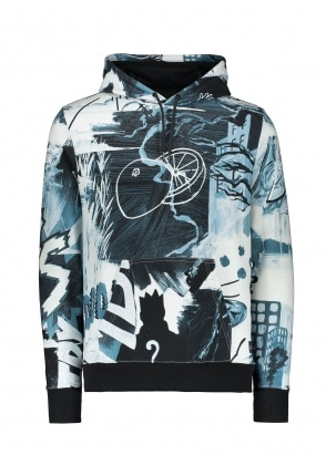 Paul Smith Pulp Print Hoody - Black / White