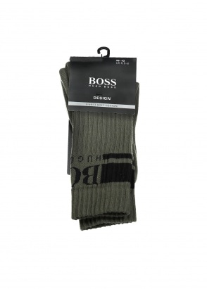 Hugo Boss QS Rib Logo Sock 308 - Dark Green