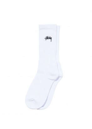 Stussy Small Stock Crew Socks - White