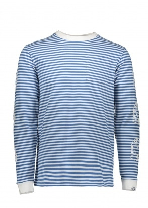 Billionaire Boys Club Small Stripe LS Tee - Blue / White