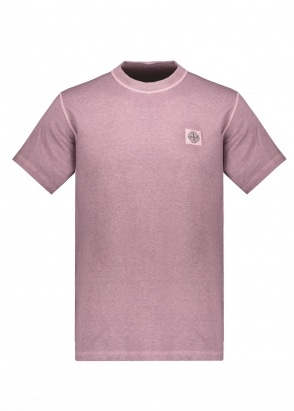 Stone Island SS Garment Dyed Badge Tee - Magenta