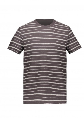 Folk SS Textured Stripe Tee - Charcoal
