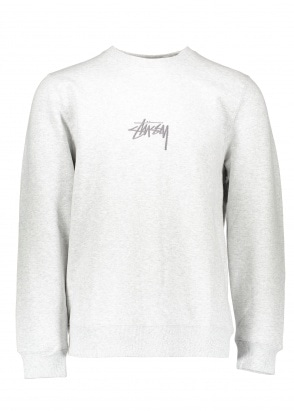 Stussy Stock Applique Crew - Grey Heather