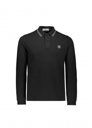 Stone Island LS Badge Polo Shirt - Black