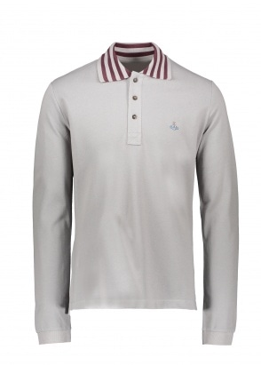 Vivienne Westwood Mens Stripe Collar Polo - Grey